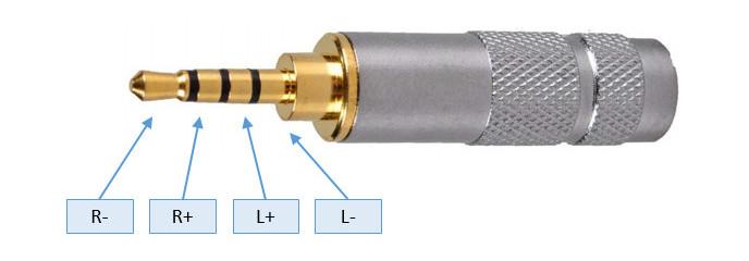 2.5mm TRRS jack dugó szimmetrikus bekötése